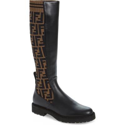 Fendi Rockoko Logo Sock Knee High Boot - Black