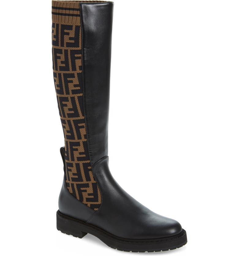 FENDI Rockoko Logo Sock Knee High Boot, Main, color, BLACK/ BROWN