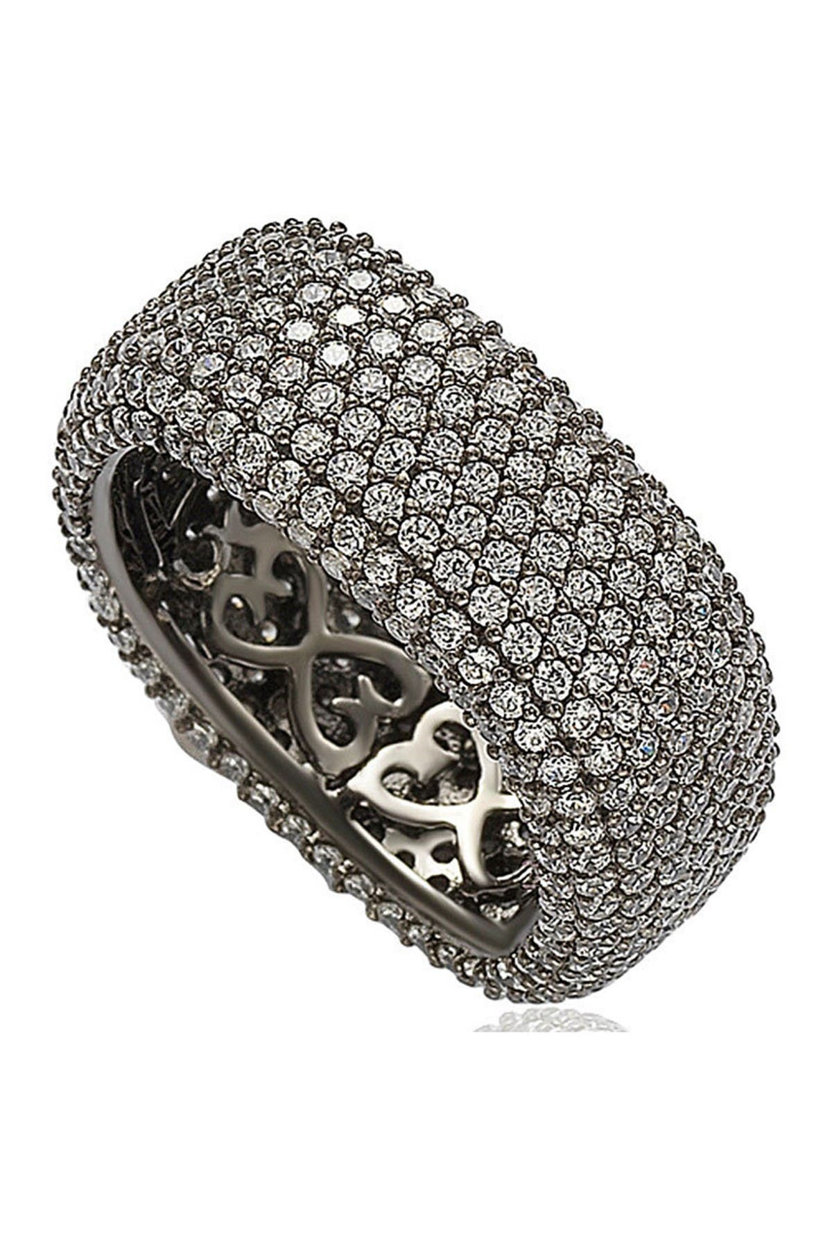 Image of Suzy Levian Blackened Sterling Silver Square White CZ Eternity Band Ring