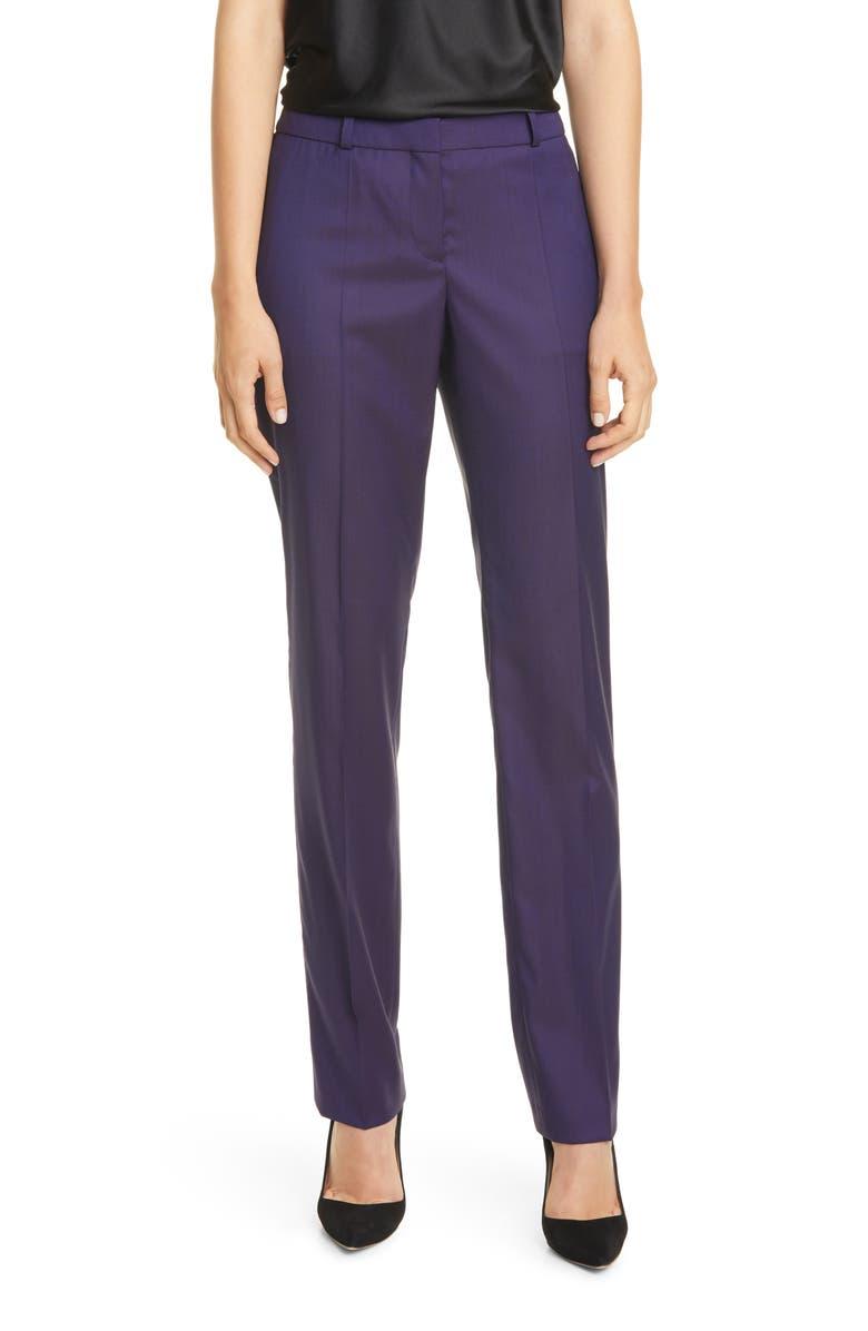 BOSS Titana Wool Trousers, Main, color, GRAPE