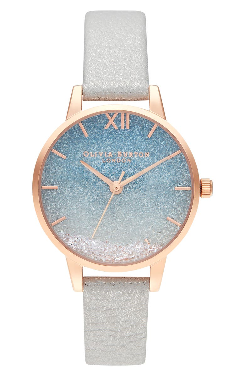 Wishing Waves Shimmer Leather Strap Watch, 30mm by Olivia Burton
