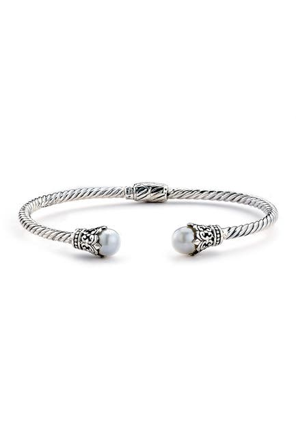 Image of Samuel B Jewelry Sterling Silver Twisted 3mm White Pearl Bangle Bracelet