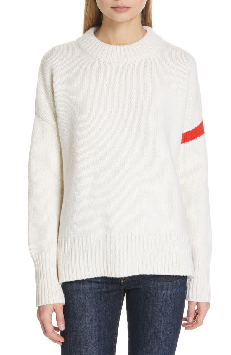 LA LIGNE Varsity Cashmere Sweater, Main, color, CREAM/ RED