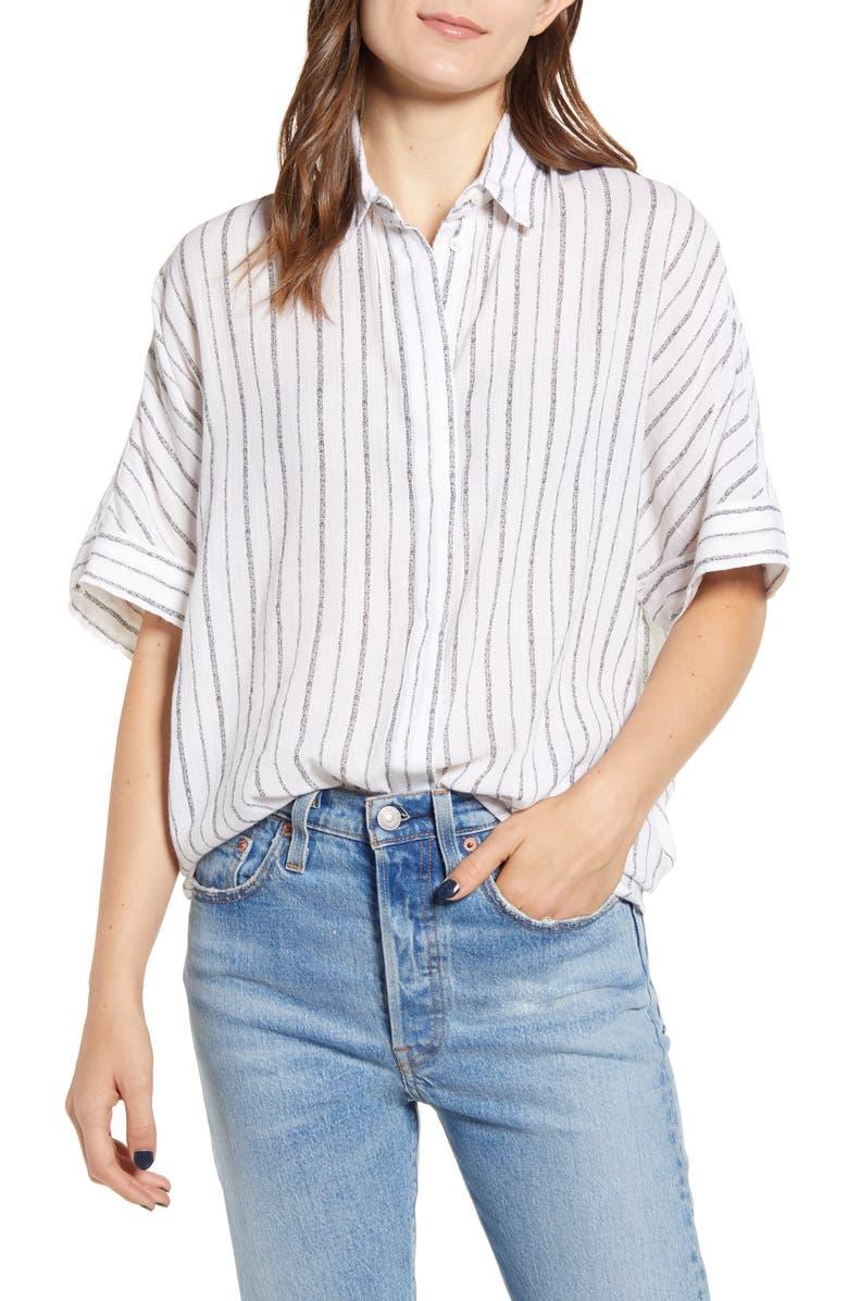 ALLSAINTS Saria Stripe Shirt, Main, color, CHALK WHITE/ GREY