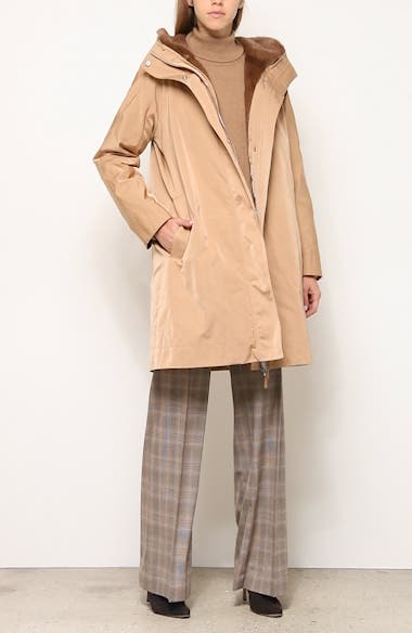 Sinclair Couture Cloth Coat with Genuine Mink Fur Trim, video thumbnail