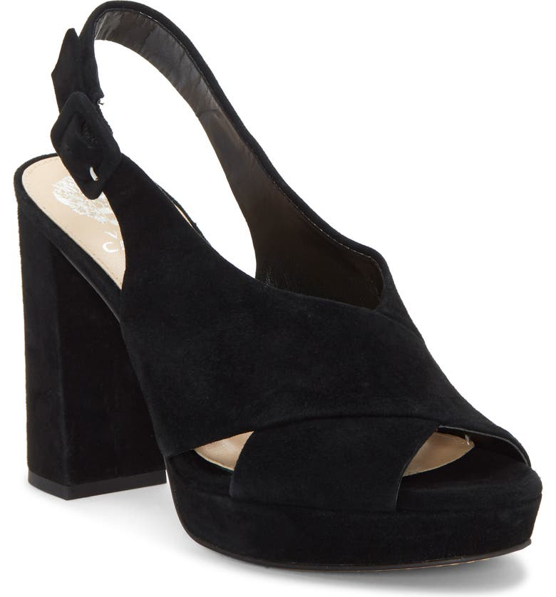 VINCE CAMUTO Javasan Slingback Platform Sandal, Main, color, BLACK 01 SUEDE