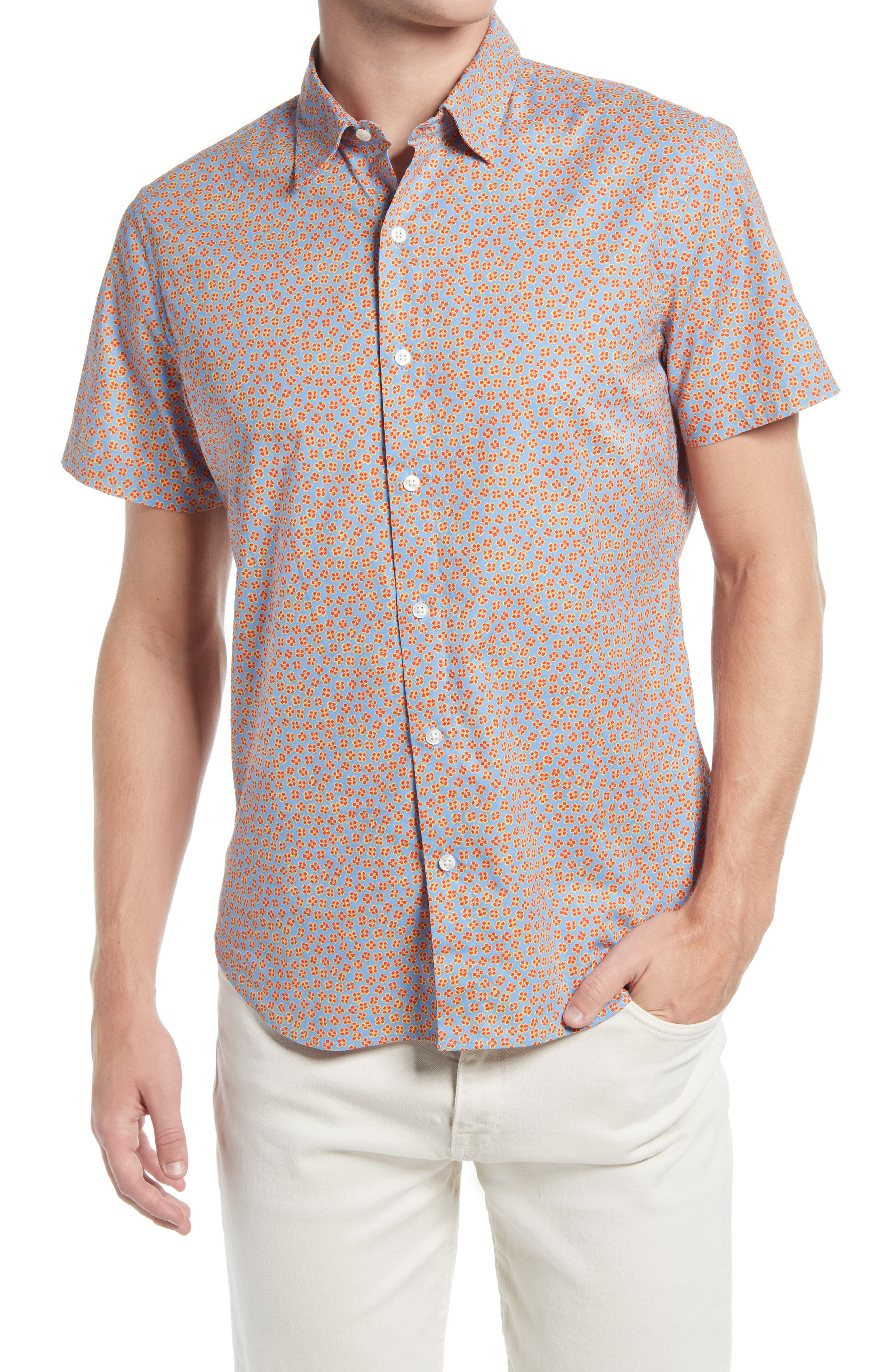 Riviera Slim Fit Floral Short Sleeve Button-Up Shirt