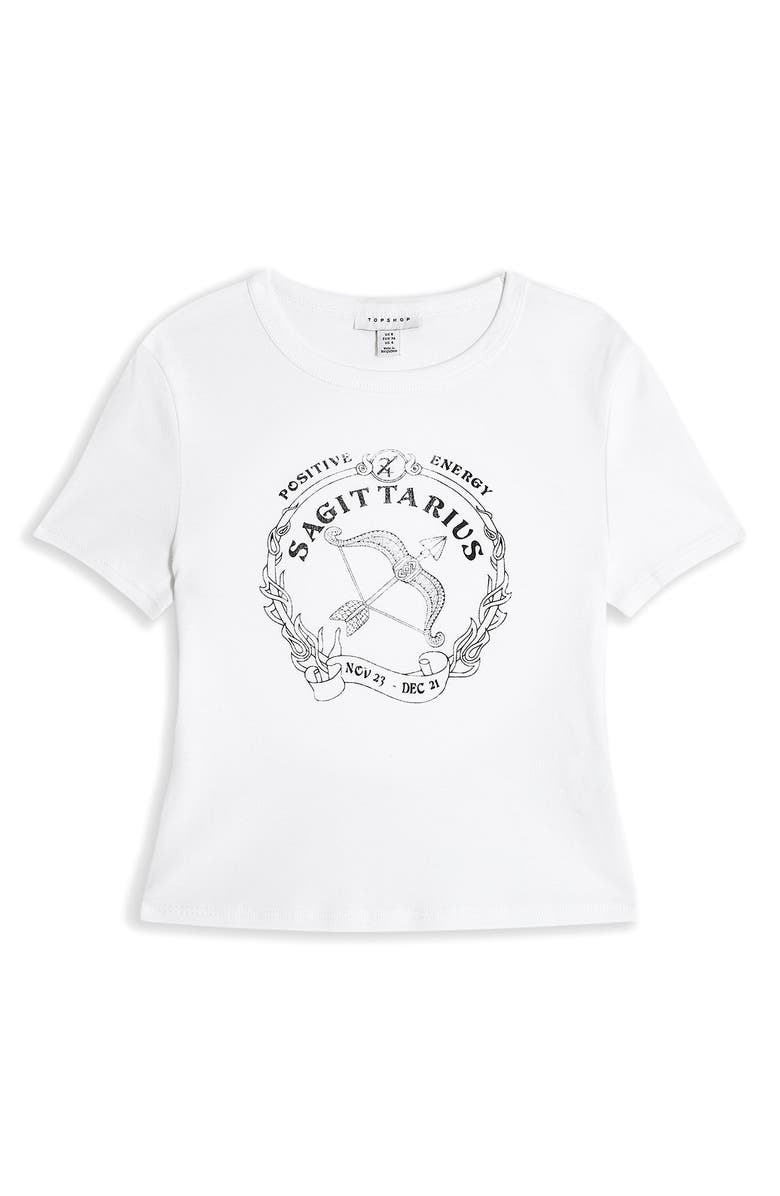 TOPSHOP Horoscope Graphic Crop Tee, Main, color, SAGITTARIUS