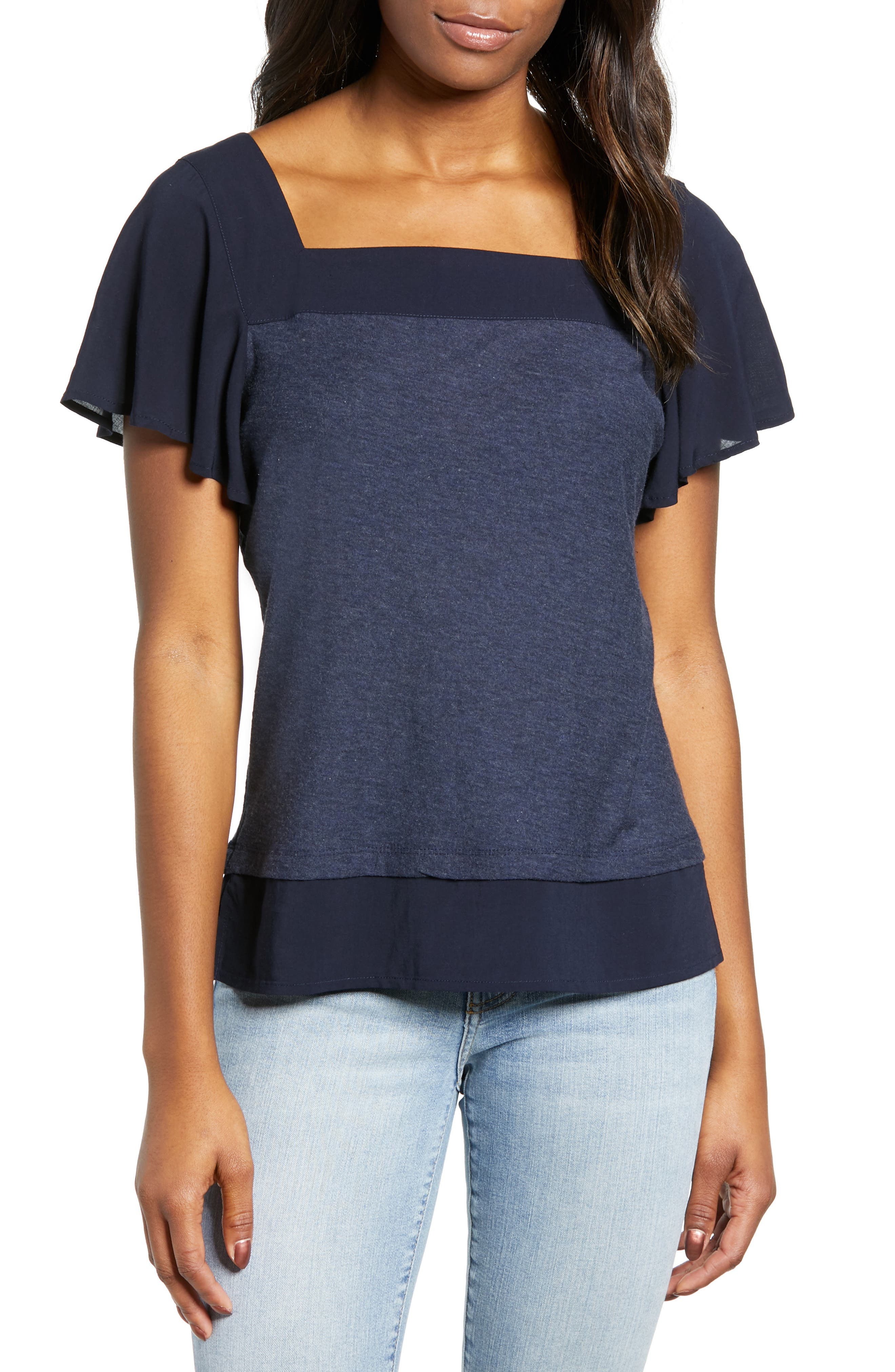 Image of Vince Camuto Layered Look Flutter Sleeve Top