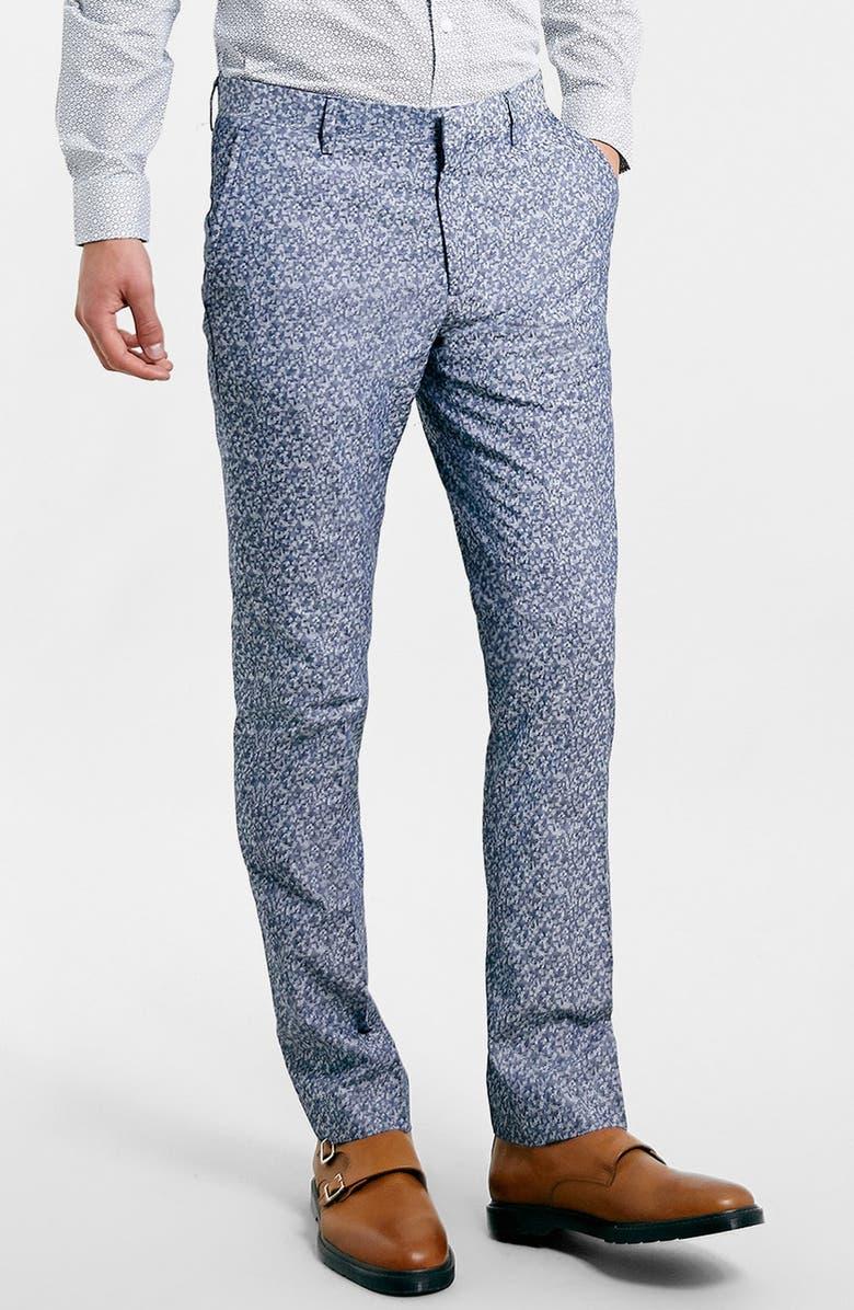 TOPMAN Skinny Fit Print Suit Trousers, Main, color, 420