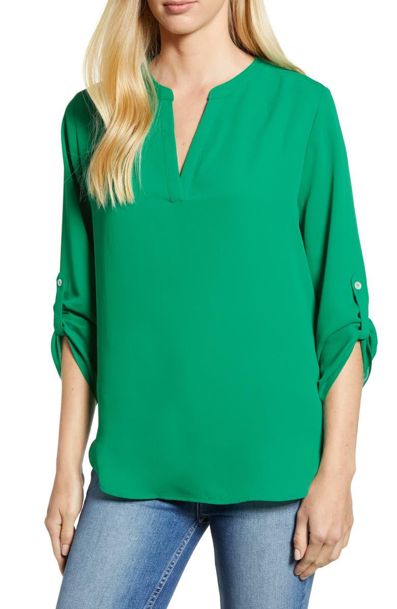 EVERLEIGH Roll-Tab Sleeve Tunic, Main, color, GREEN LAKE