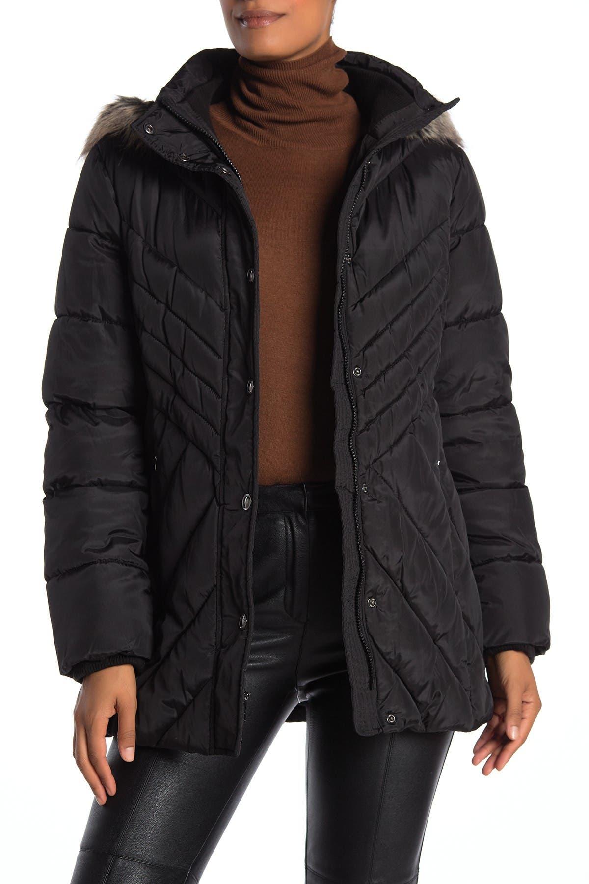Image of London Fog Faux Fur Trim Hooded Zip Front Puffer Jacket