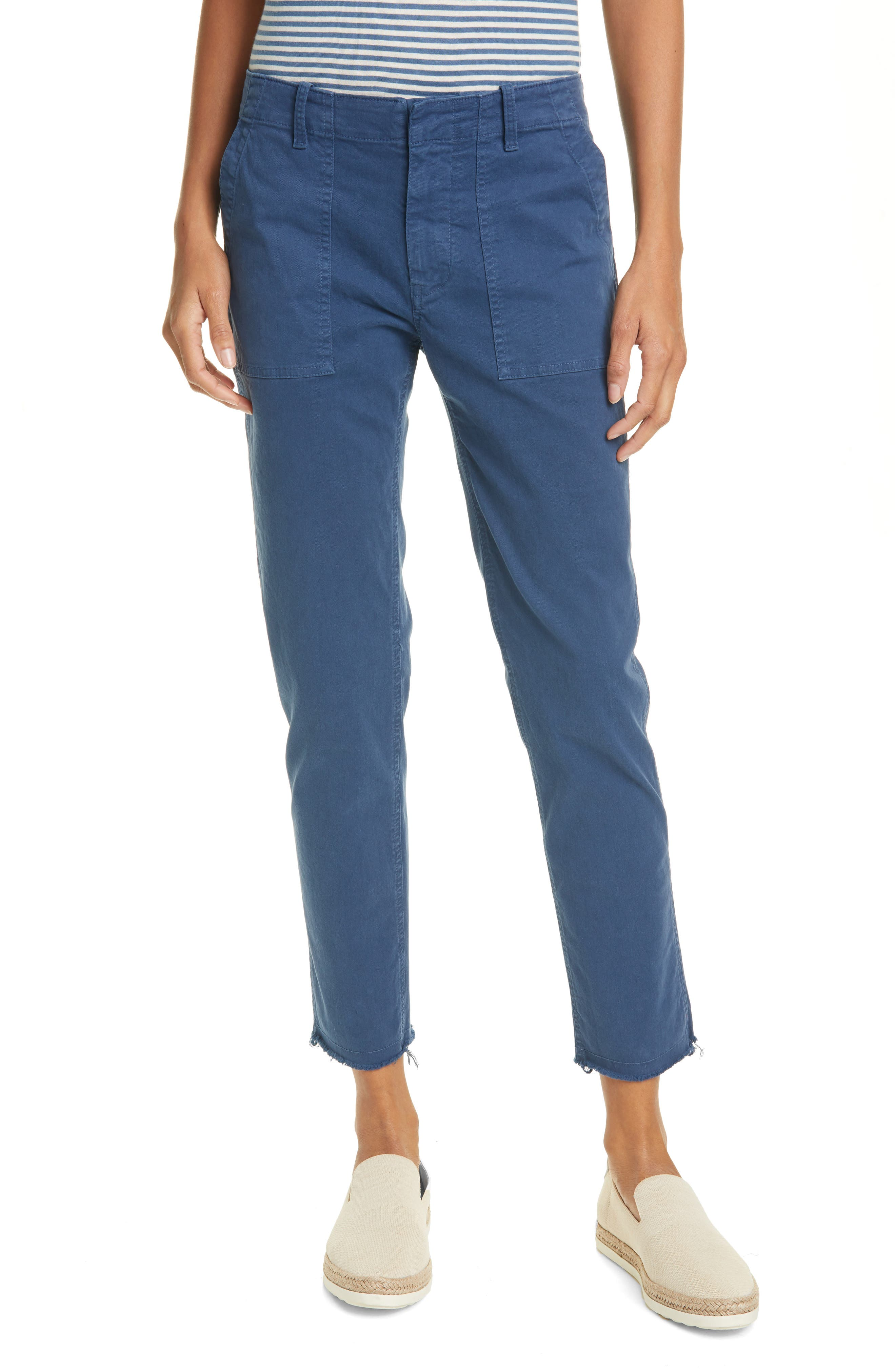 Women's Nili Lotan Jenna Slim Crop Stretch Twill Pants,  0 - Blue