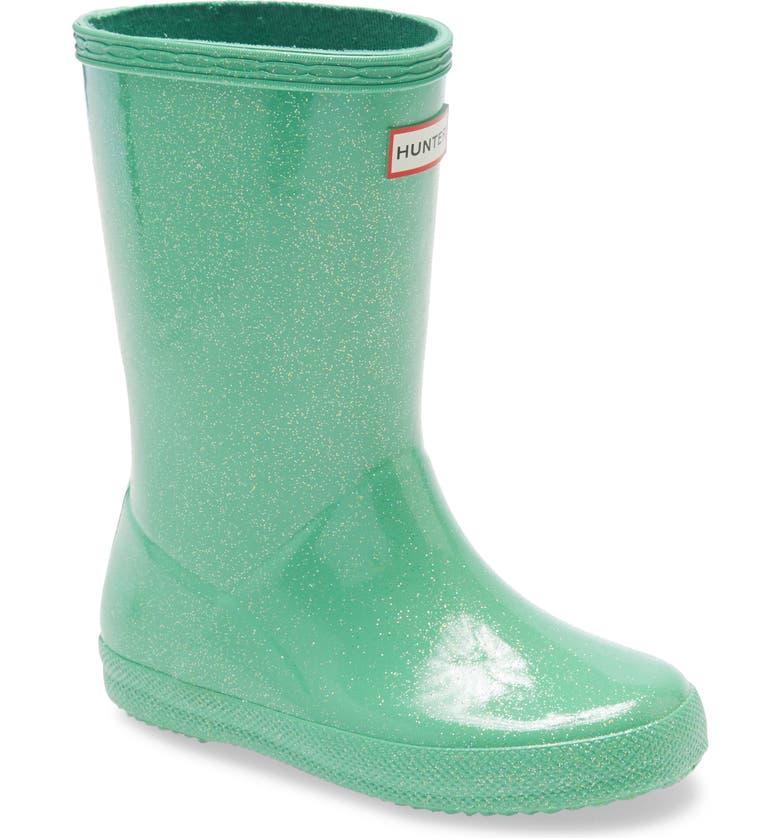 HUNTER Kids First Classic Starcloud Glitter Rain Boot, Main, color, SEA NOODLE