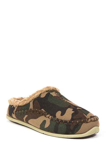 Image of Deer Stags Slipperooz Lil' Nordic Faux Shearling Lined Camouflage Slippers