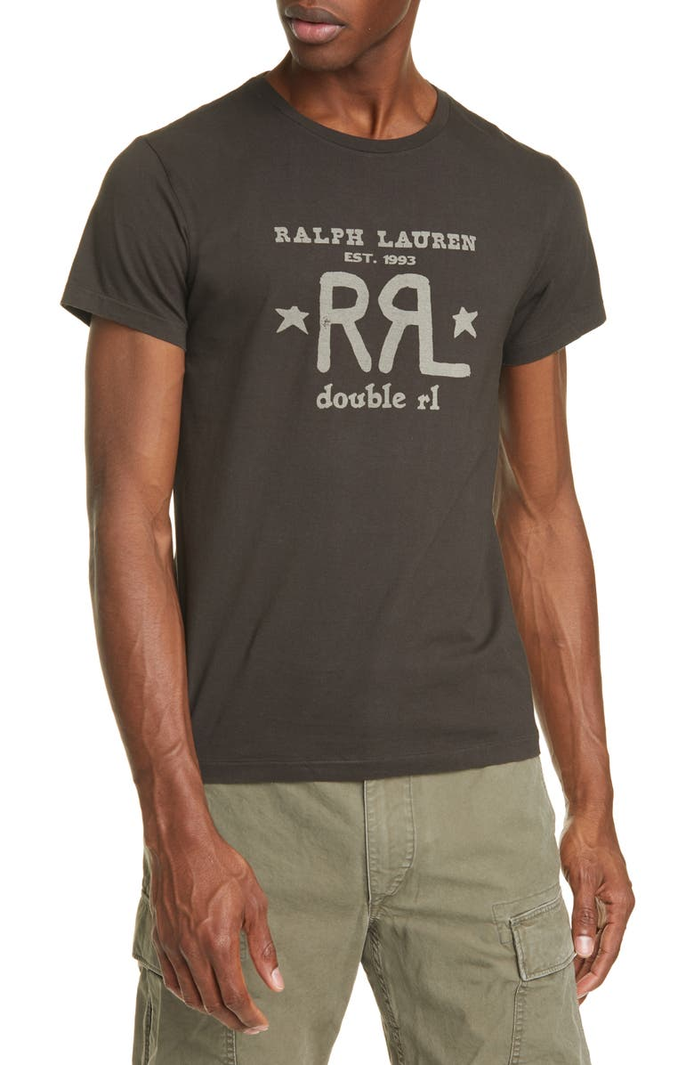 RRL Logo Graphic Tee, Main, color, FADED BLACK
