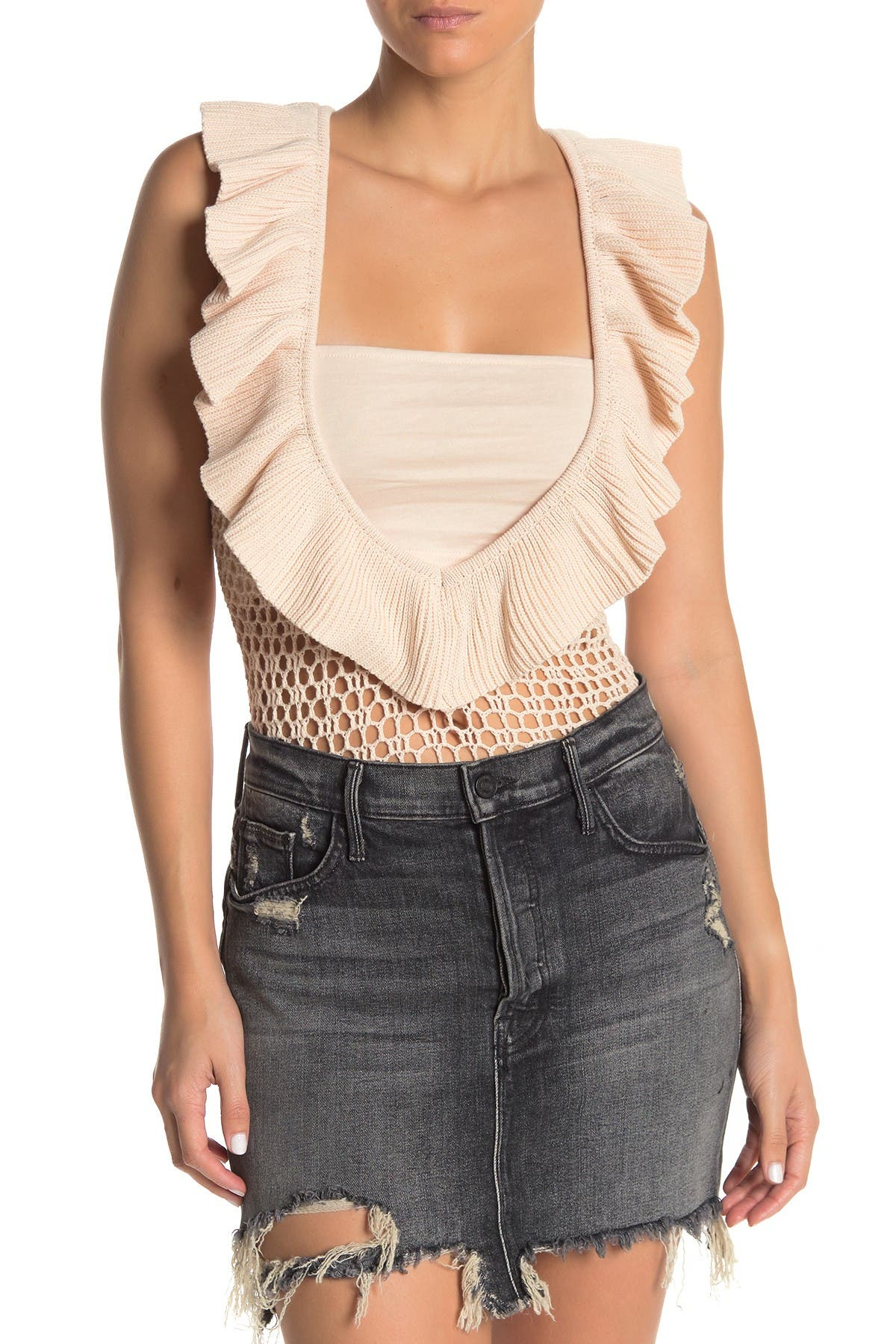Image of KENDALL AND KYLIE Crochet Ruffle Bodysuit
