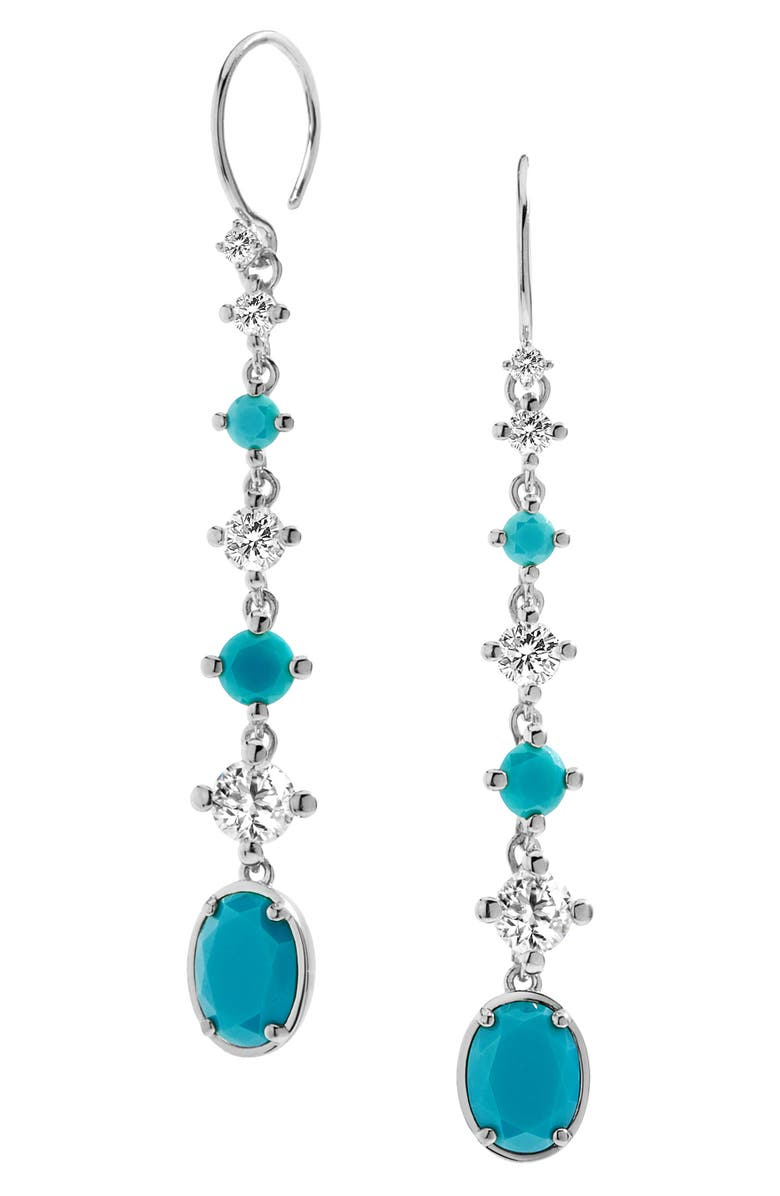 NADRI Issa Linear Stone Drop Earrings, Main, color, RHODIUM/ CUBIC ZIRCONIA