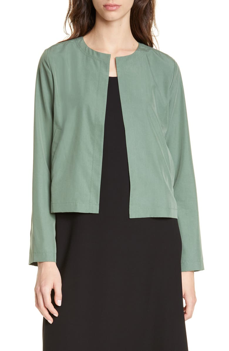 EILEEN FISHER Crop Tencel<sup>®</sup> Lyocell Blend Jacket, Main, color, NORI