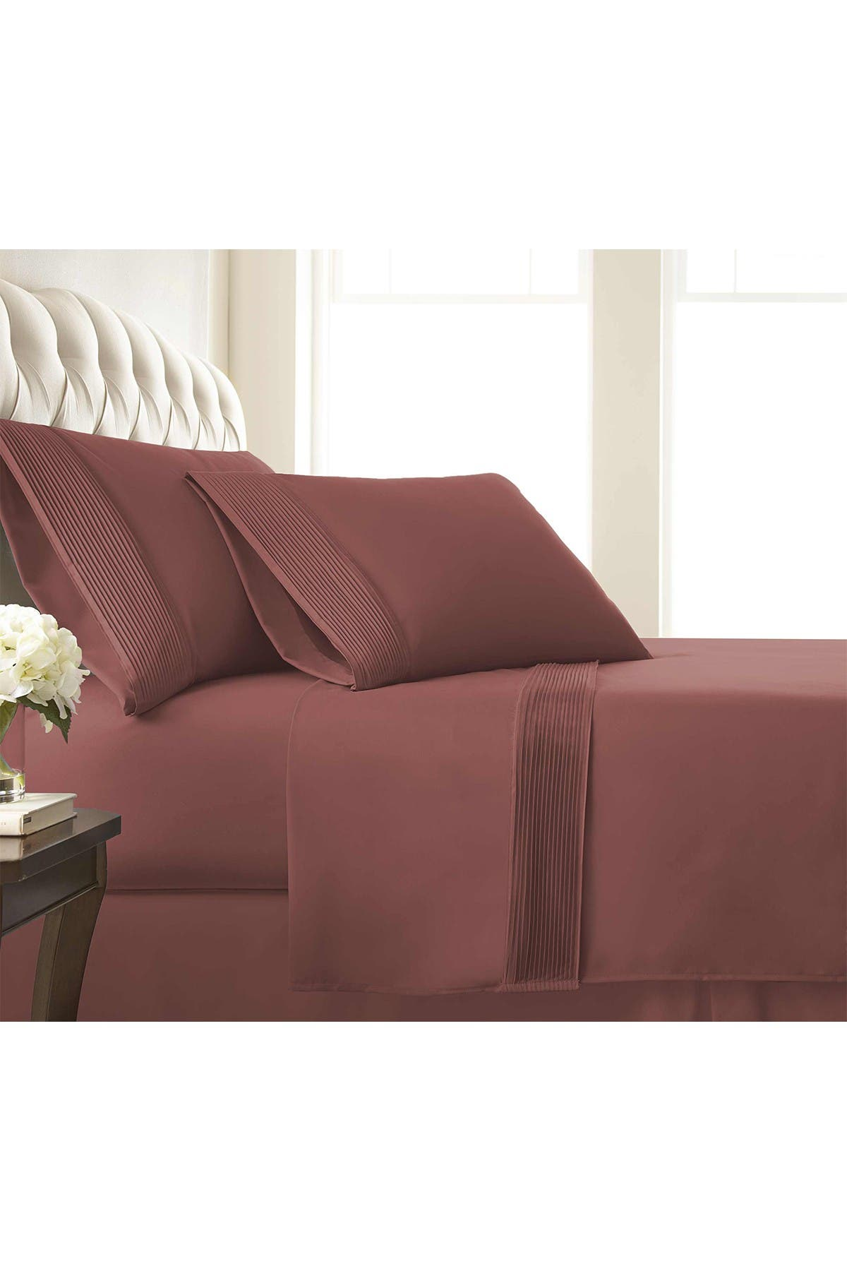 Image of SOUTHSHORE FINE LINENS King Sized Premium Collection Double Brushed Extra Deep Pocket Pleated Sheet Set - Marsala