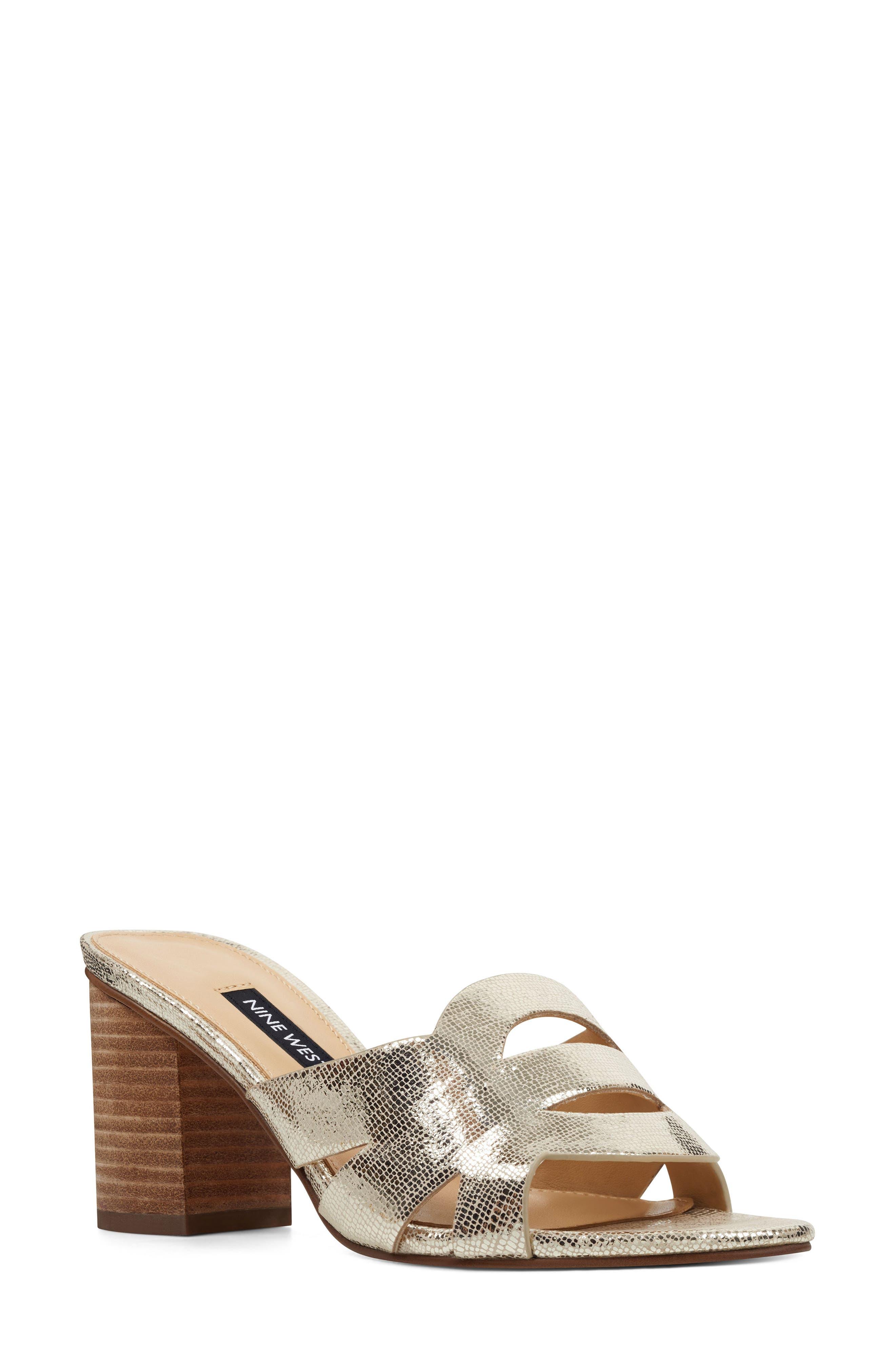 Nevaeh Cutout Slide Sandal, Main, color, PLATINUM PRINT LEATHER