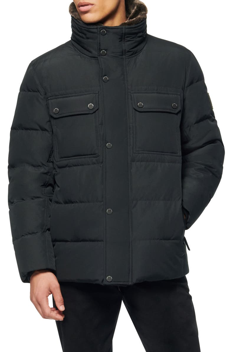 MARC NEW YORK Godwin Faux Fur Collar Down & Feather Fill Quilted Coat, Main, color, BLACK