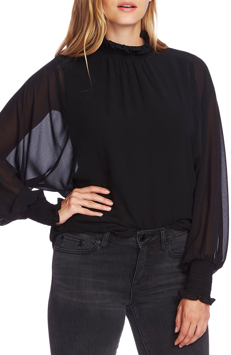 VINCE CAMUTO Batwing Chiffon Top, Main, color, RICH BLACK