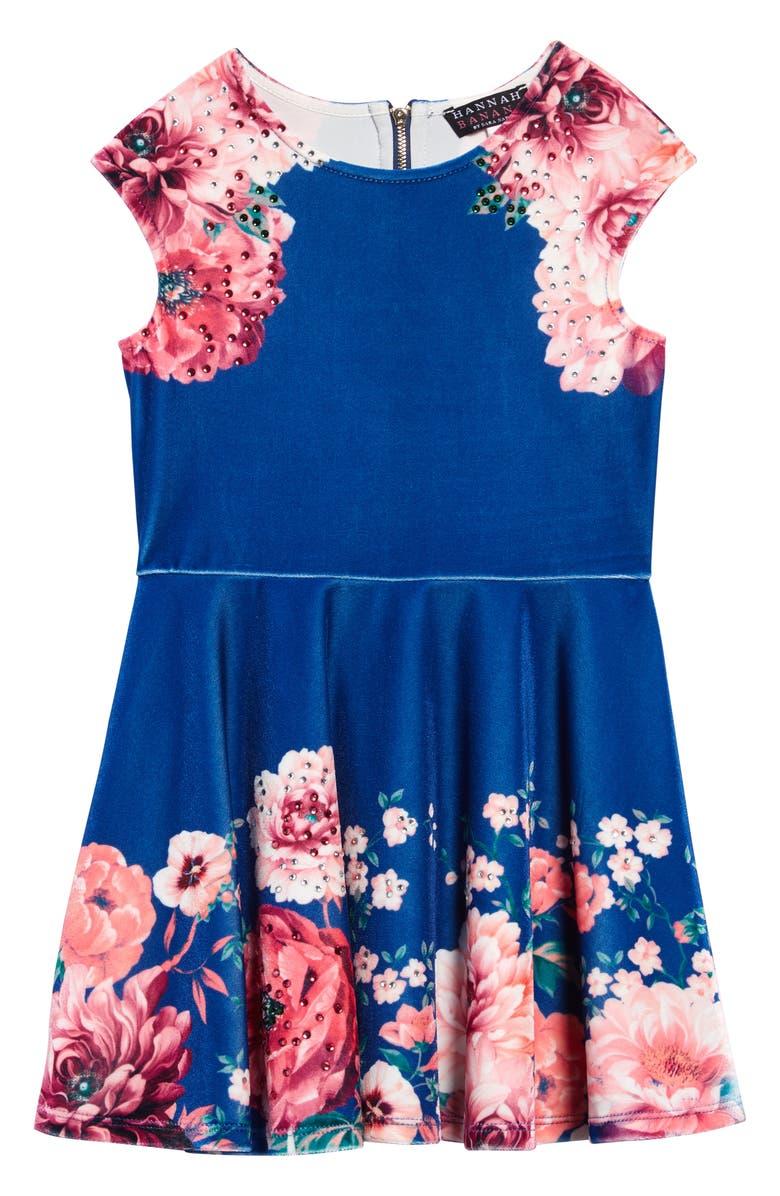 HANNAH BANANA Embellished Floral Velvet Skater Dress, Main, color, BLUE