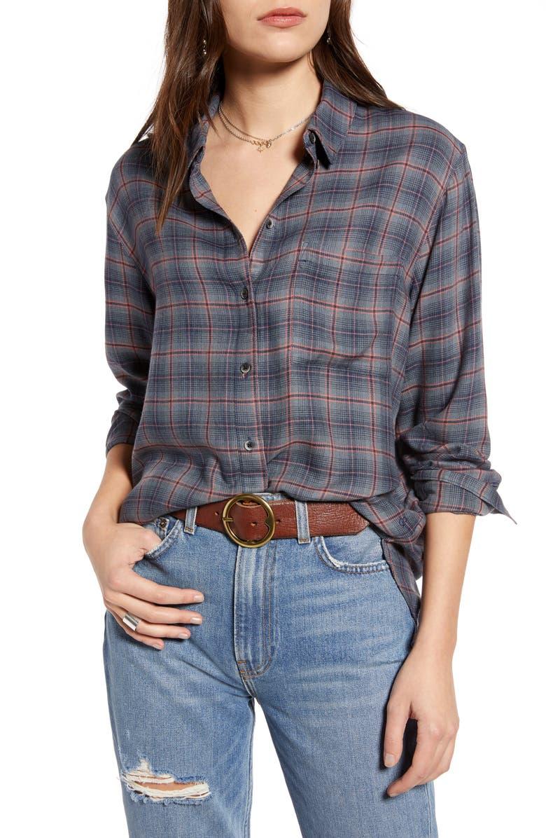 TREASURE & BOND Plaid Boyfriend Shirt, Main, color, NAVY- CORAL LILY PLAID