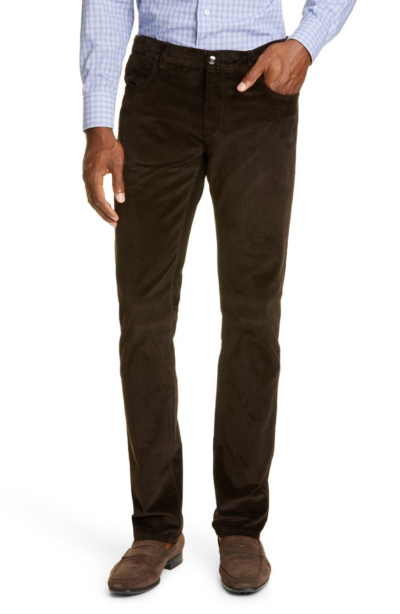 CANALI Corduroy Stretch Cotton Blend Five Pocket Pants, Main, color, DARK BROWN