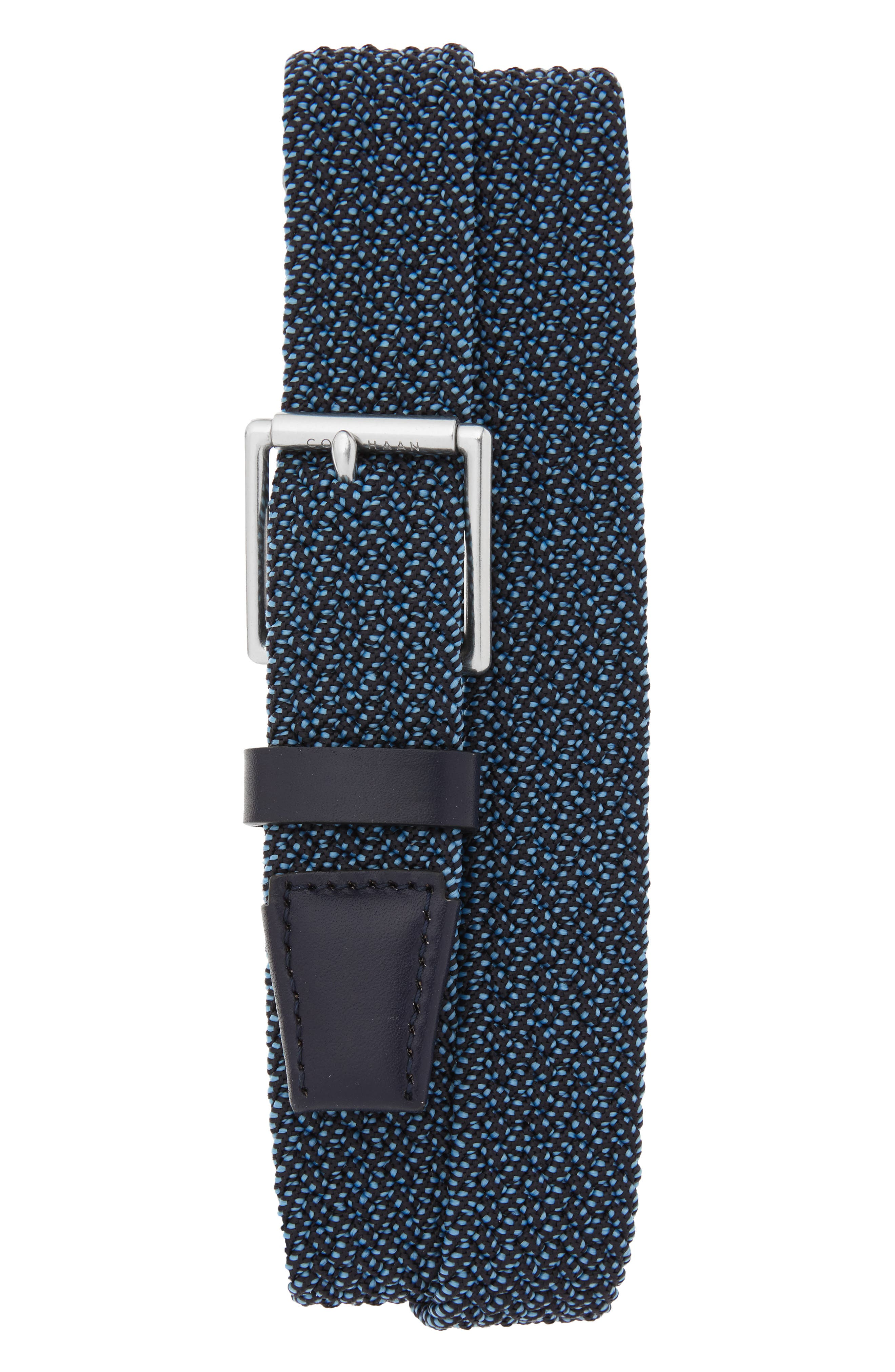 Cole Haan Stretch Weave Belt, Navy/ Tumbled Nickel