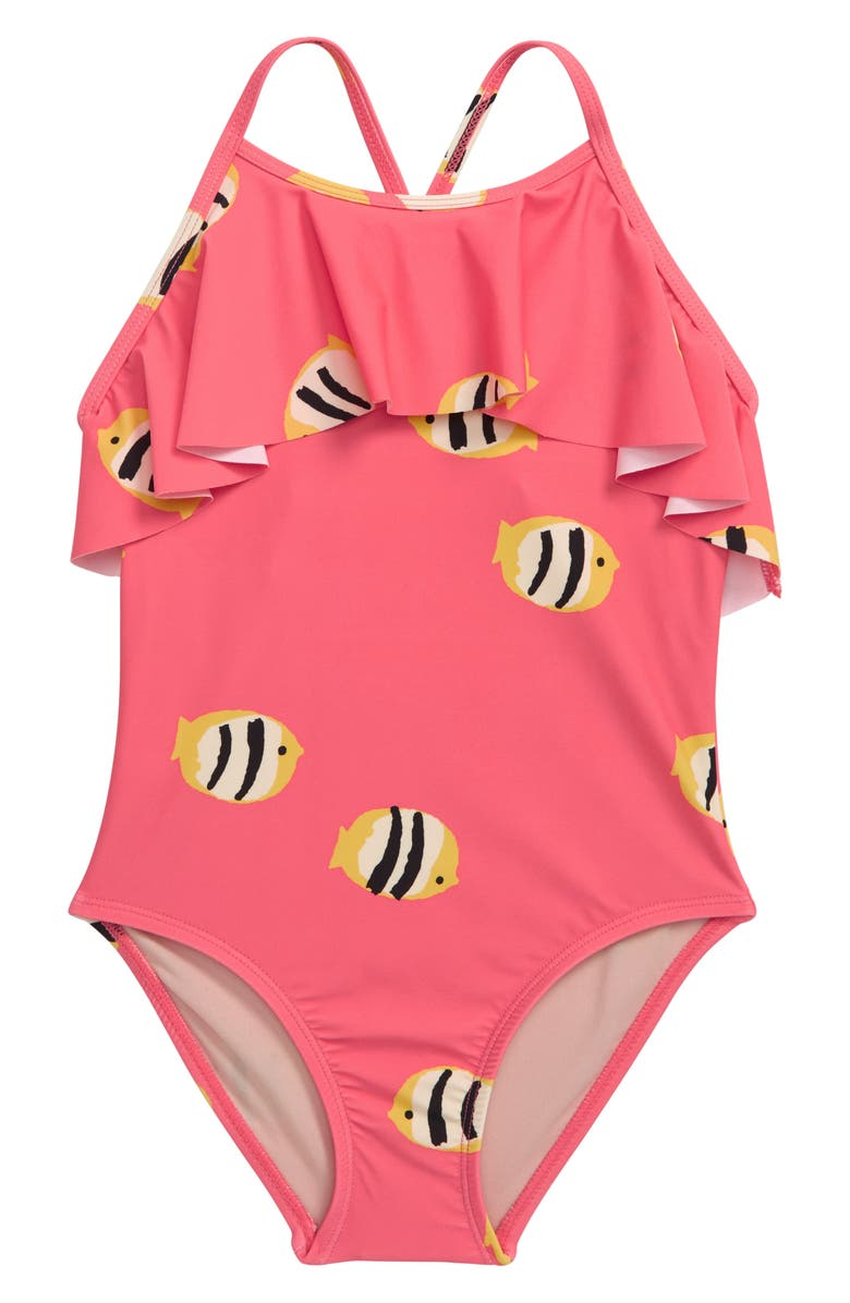 TEA COLLECTION Ruffle One-Piece Swimsuit, Main, color, PINK