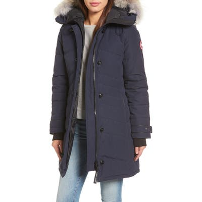 Canada Goose Lorette Hooded Down Parka With Genuine Coyote Fur Trim, Blue