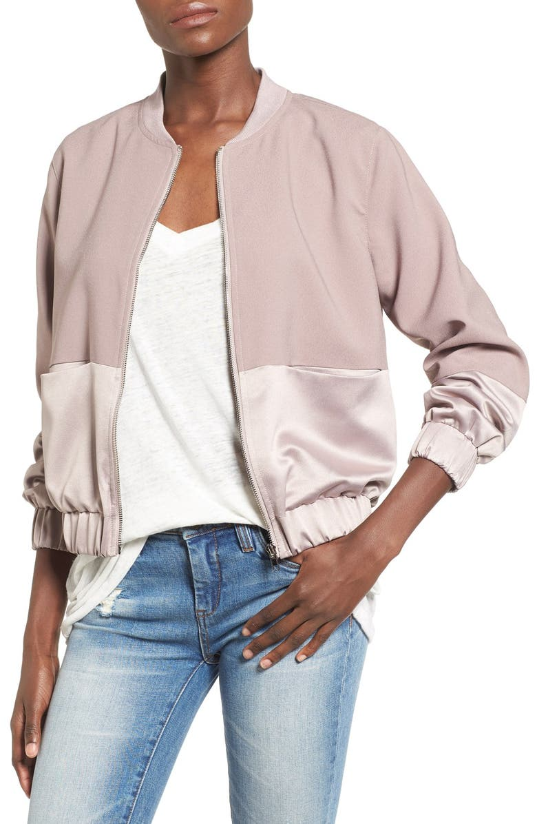 MISSGUIDED Satin & Faux Suede Bomber Jacket, Main, color, 650