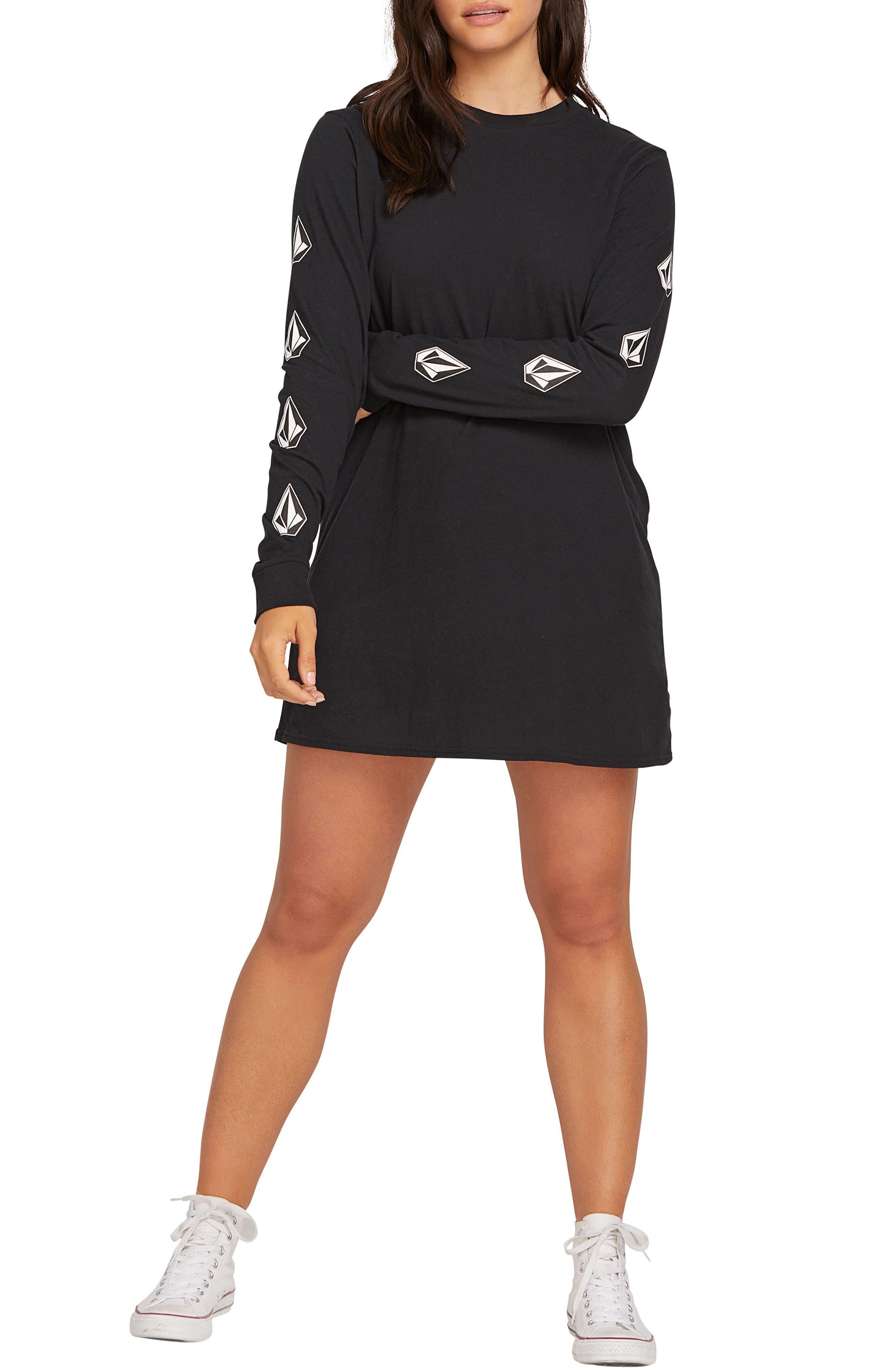 Plus Size Volcom What A Trip T-Shirt Dress, Black