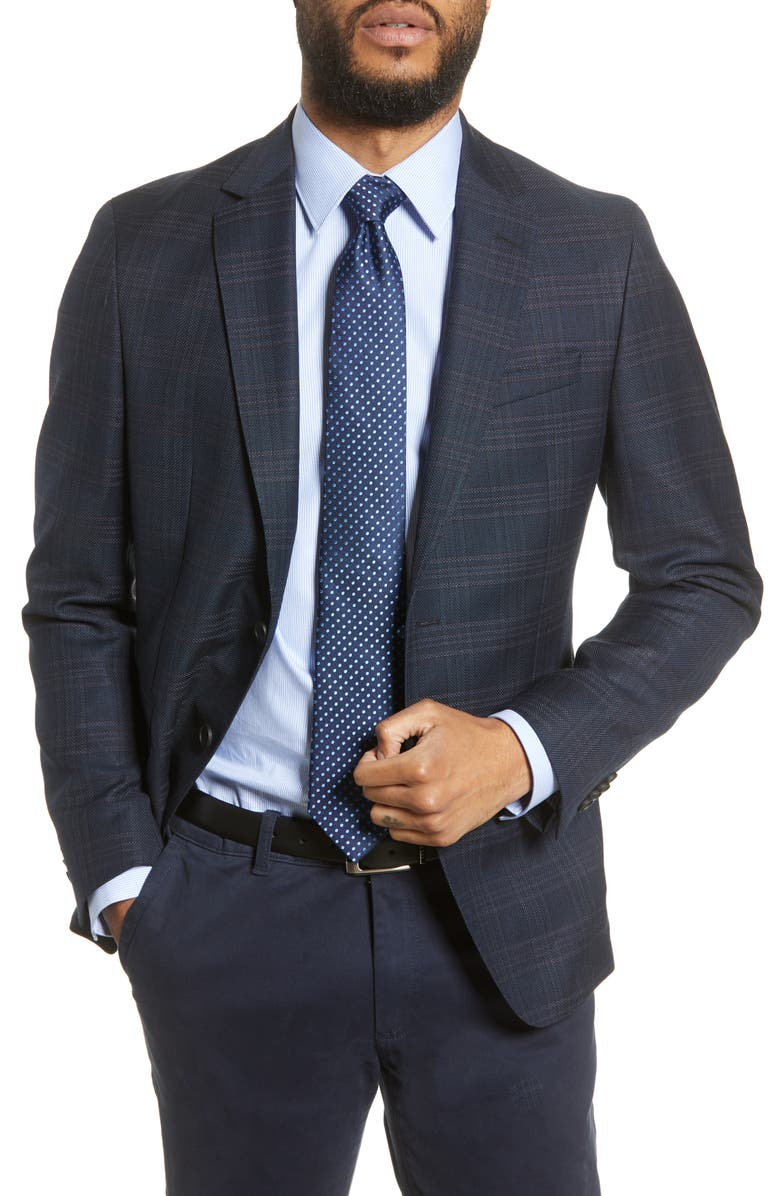 BOSS Nobis Trim Fit Plaid Wool Sport Coat, Main, color, BLUE