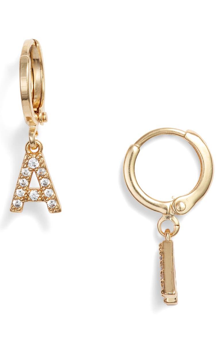 MARIDA Initial Hoop Earrings, Main, color, A- GOLD