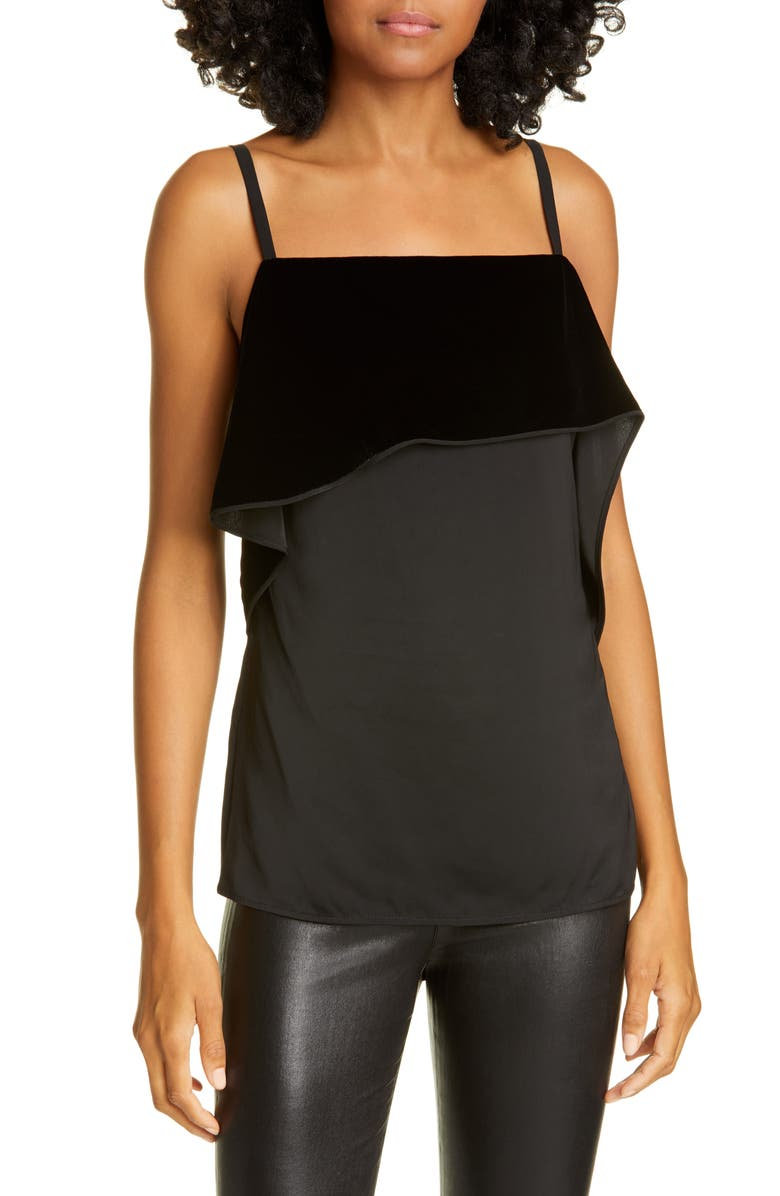 HELMUT LANG Asymmetrical Velvet Drape Cami, Main, color, BLACK