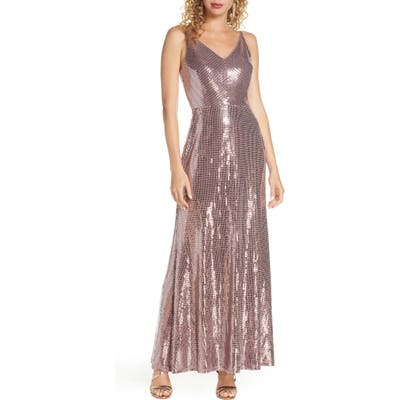 Morgan & Co. Mirror Sequin A-Line Gown, Pink