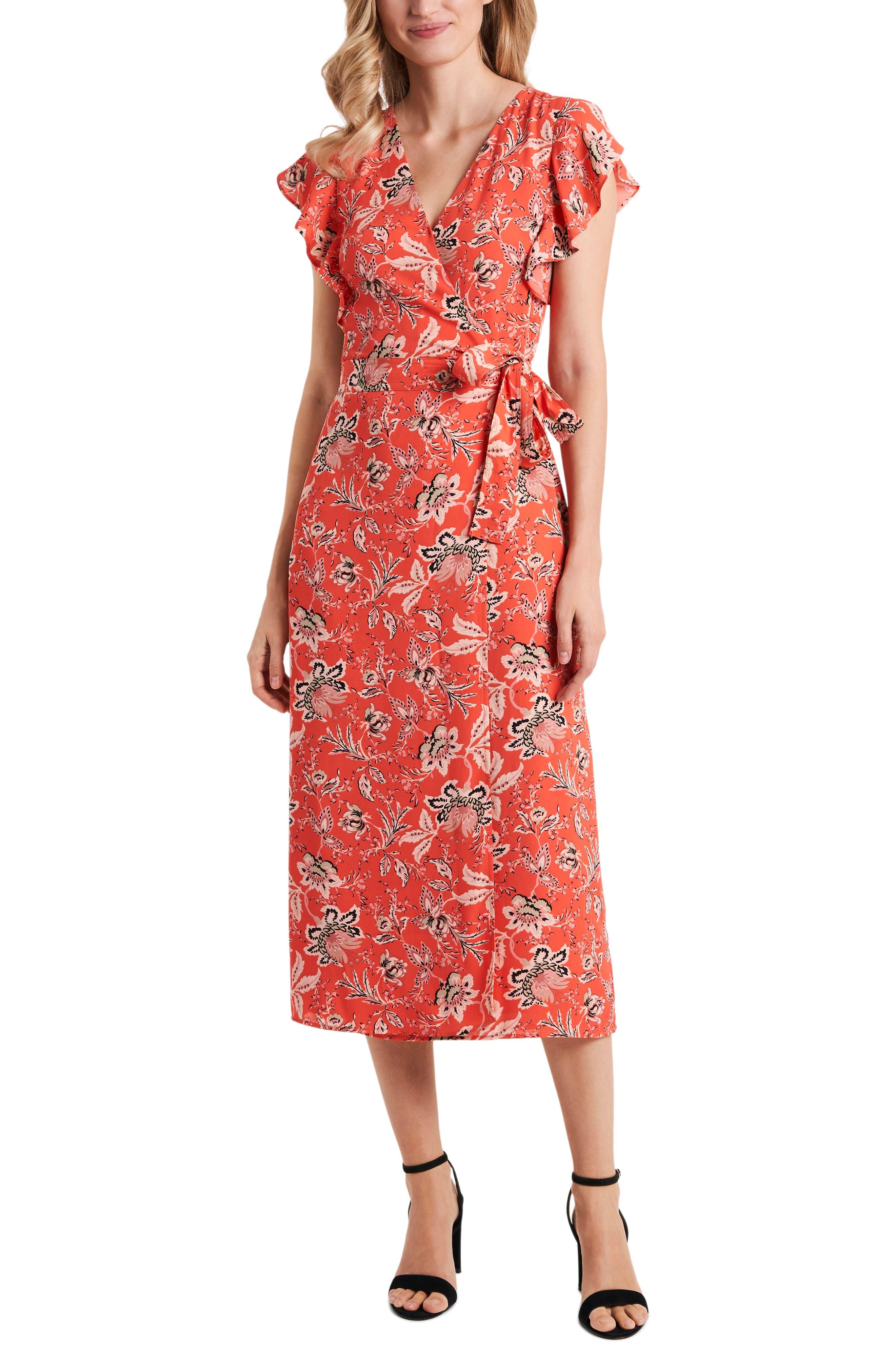 1930s Dresses | 30s Art Deco Dress Womens Vince Camuto Floral Flutter Sleeve Wrap Dress Size 16 - Coral $119.00 AT vintagedancer.com