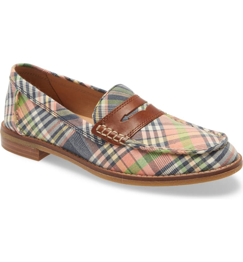 SPERRY Seaport Penny Loafer, Main, color, KICK BACK PLAID LEATHER