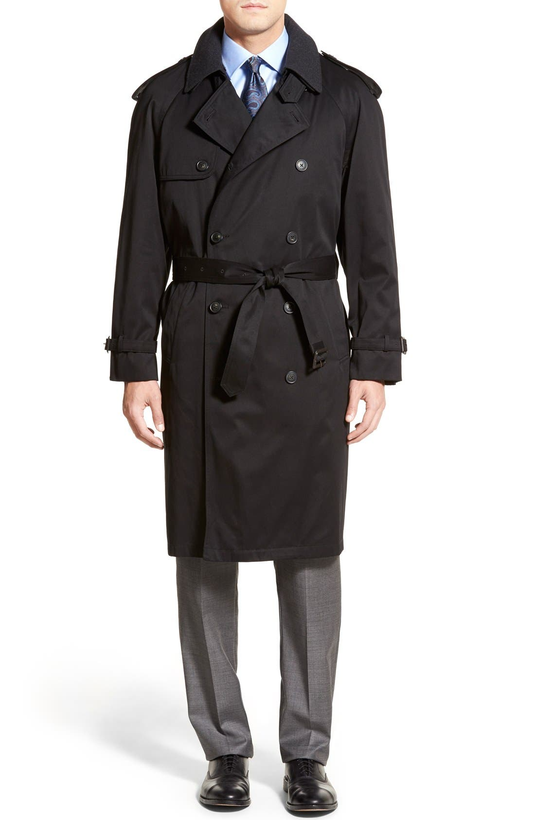 Men's Vintage Style Coats and Jackets Mens Big  Tall Hart Schaffner Marx Barrington Classic Fit Cotton Blend Trench Coat Size 44 L - Black $296.90 AT vintagedancer.com