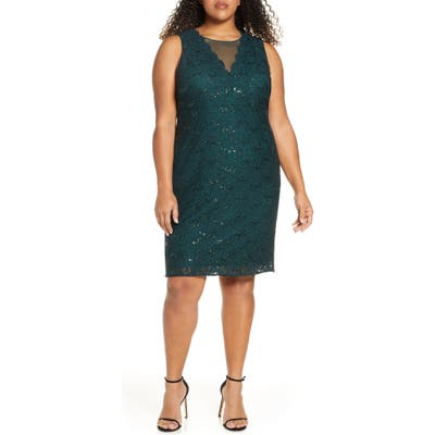 Plus Size Morgan & Co. Lace & Sequin Cocktail Dress, Green