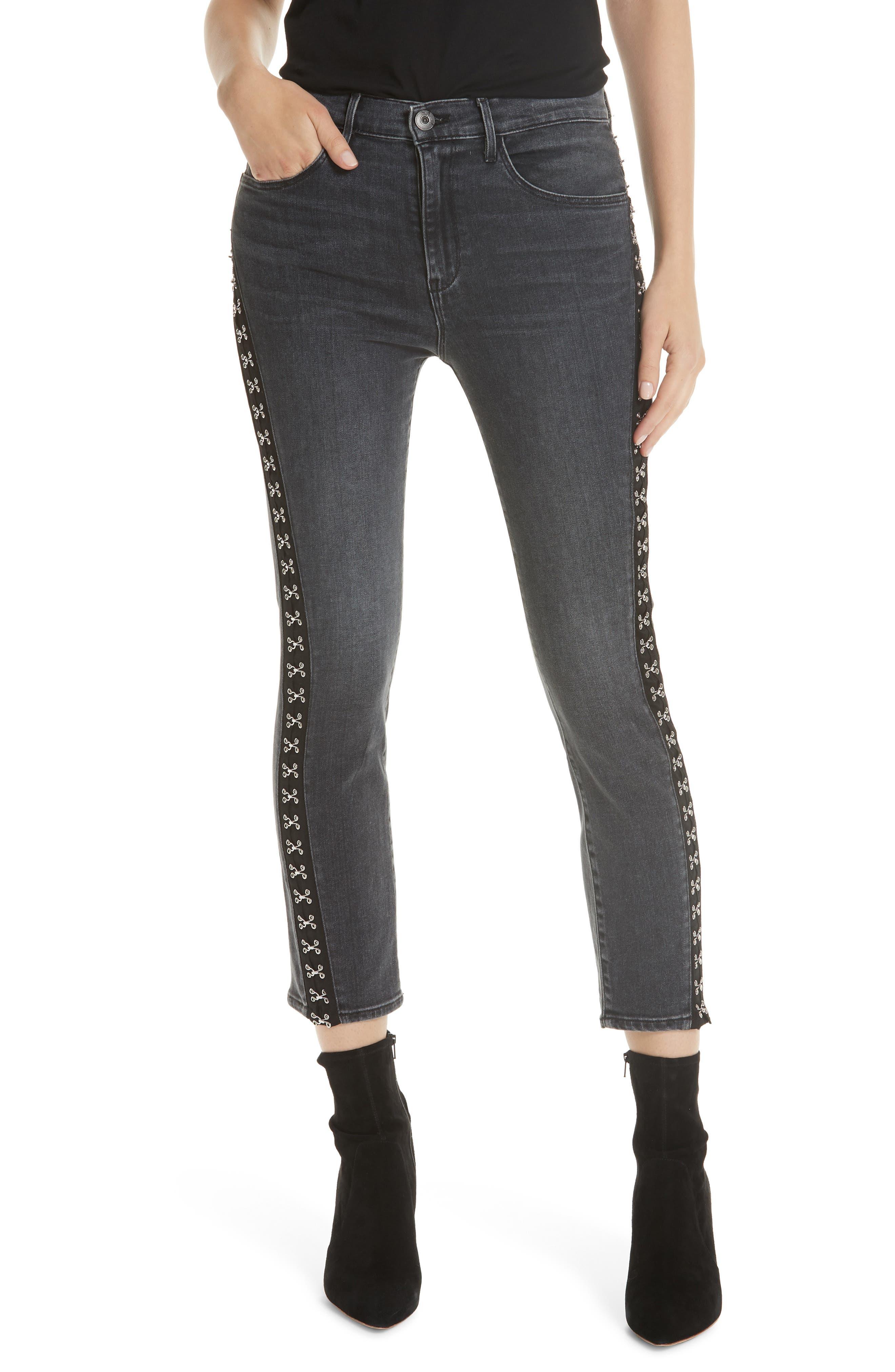 Corset Detail Ankle Skinny Jeans, Main, color, EDDA