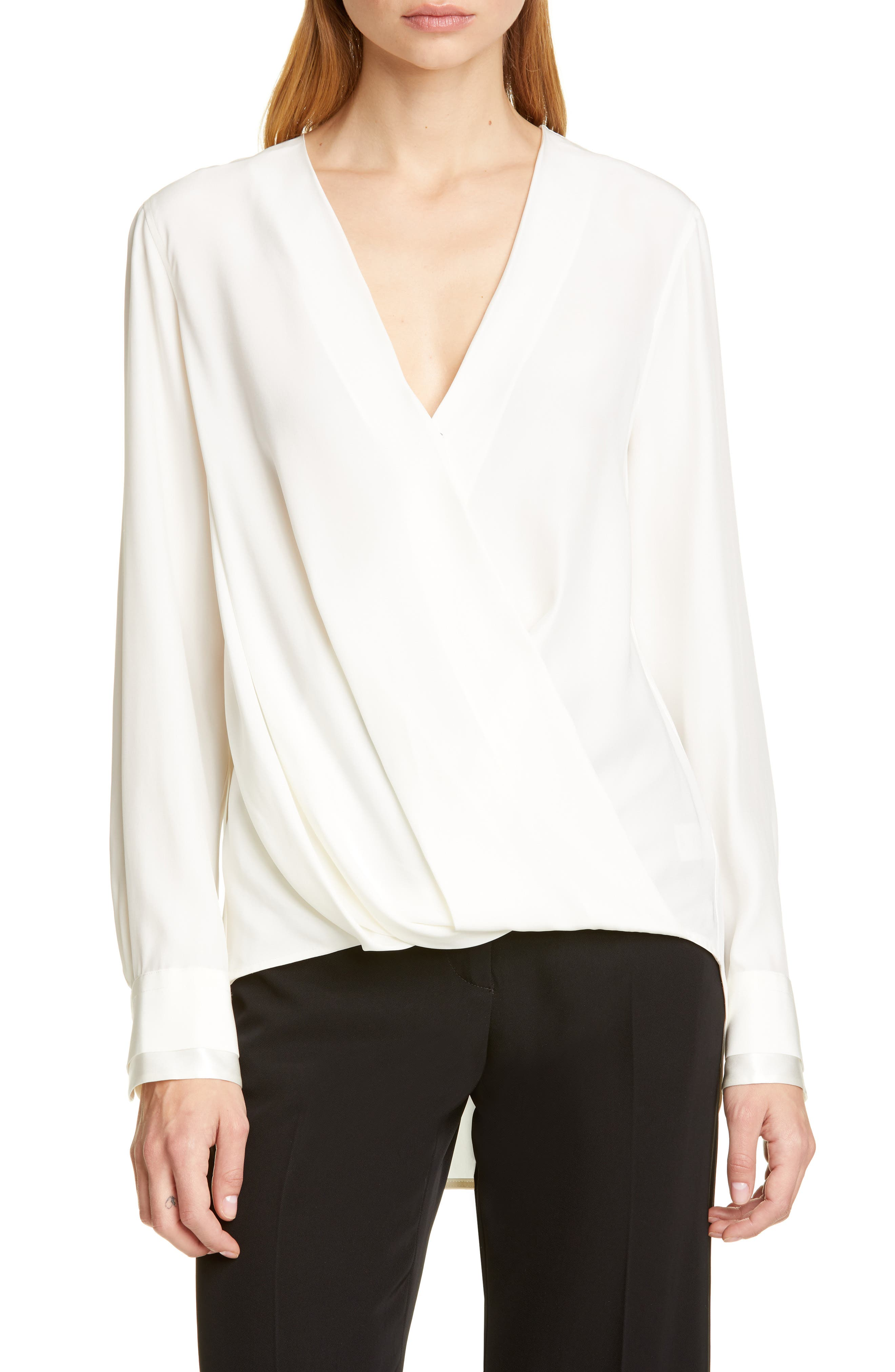 Victor Silk Blouse, Main, color, WHITE