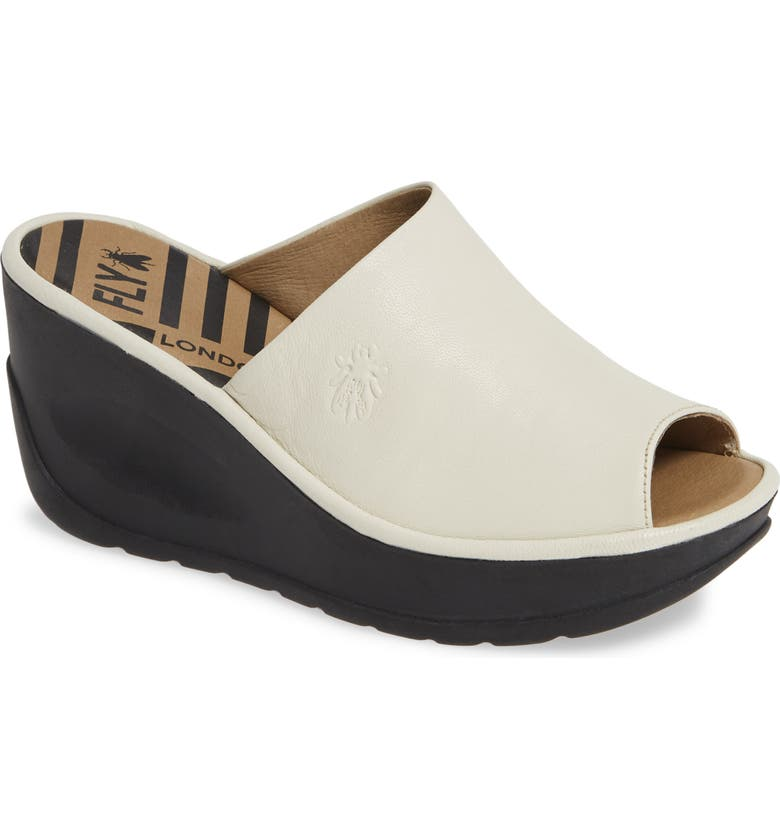 FLY LONDON Jamb Wedge Slide Sandal, Main, color, OFF WHITE LEATHER