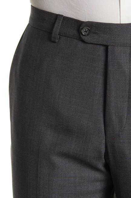 Image of Hickey Freeman Dark Gray Sharkskin Regular Fit 2B Plaid 2-Piece Suit Set