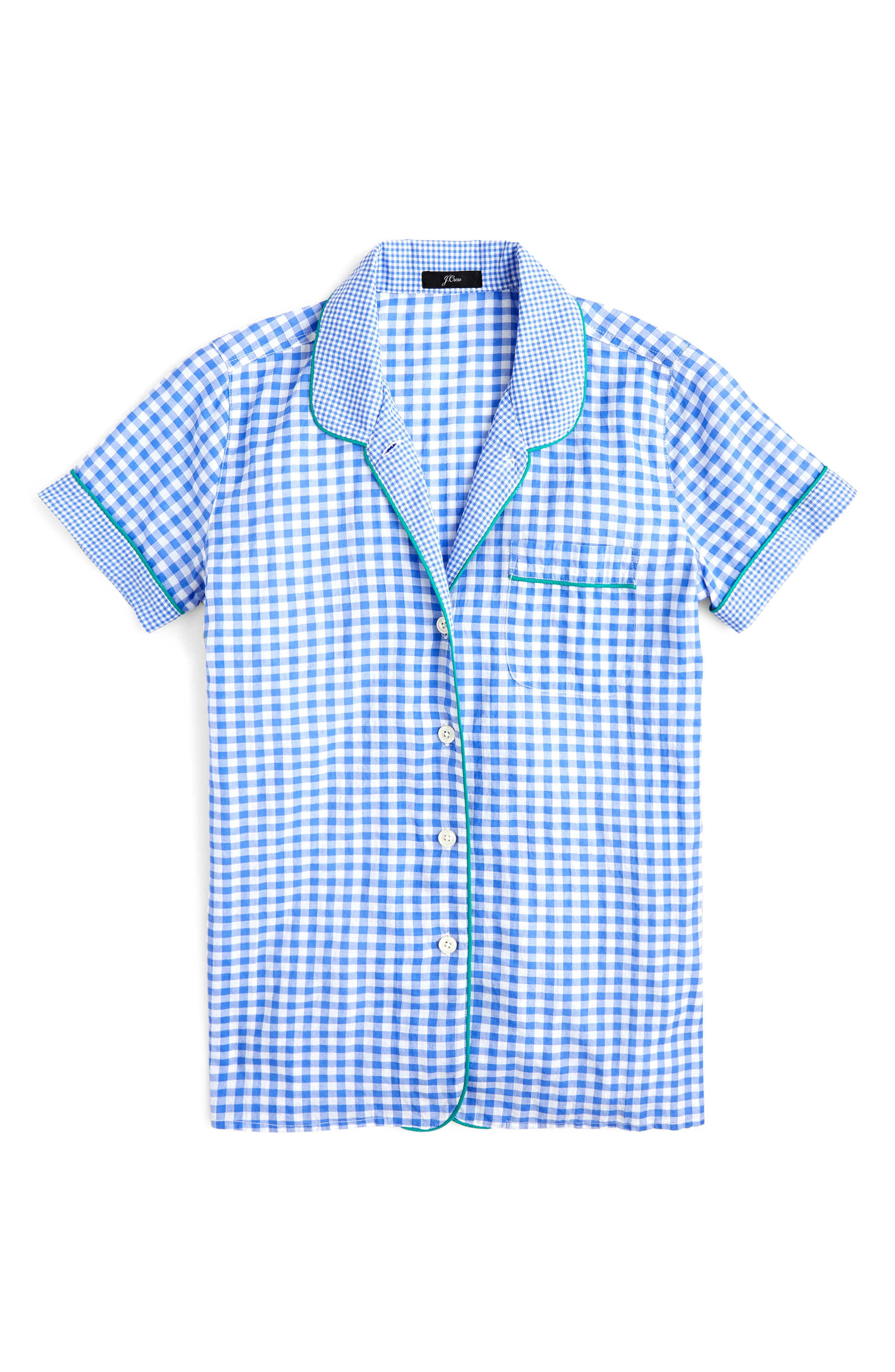 Plus Size J.crew Mixed Gingham Cotton Pajama Top, Blue