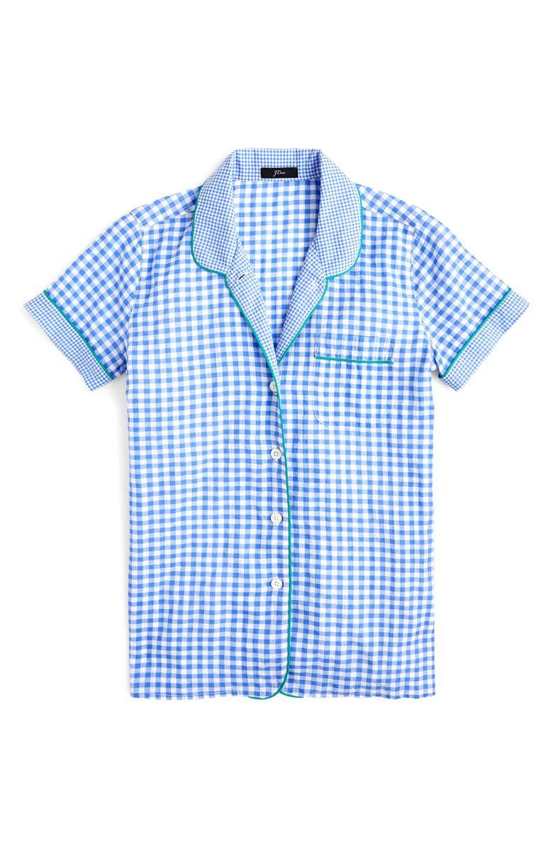 J.CREW Mixed Gingham Cotton Pajama Top, Main, color, WHITE PERI