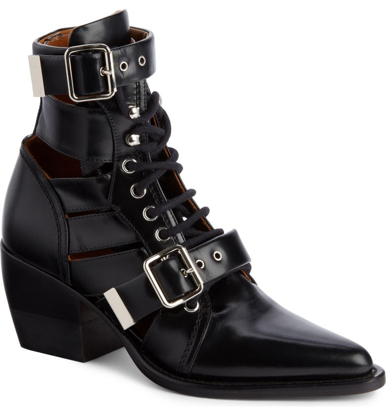 CHLOÉ Rylee Caged Pointy Toe Boot, Main, color, BLACK